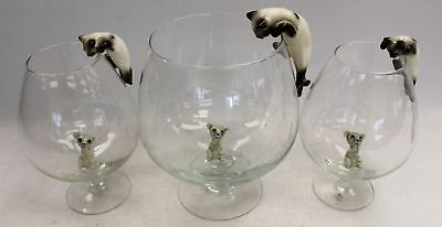 Set Of Three Cat And Mouse In A Brandy Glass Vintage Ornaments - C06