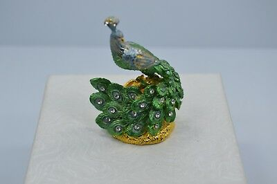 Exquisite Vintage Enamel Rhinestone Embellished Peacock Miniature Ornament #M