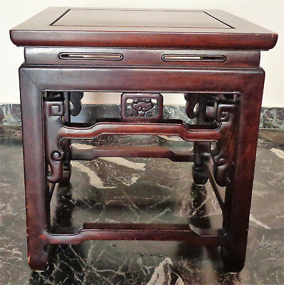 CINA (China): Fine Chinese square stool made in hardwood (Rosewood ?)