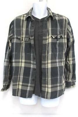 Men's Casual Long Sleeve Gray Henley Sonoma Plaid Button Up Shirts Medium