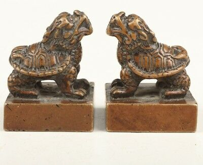 2 Chinese Old Rare Bronze Dragon Turtle Chop Statue Solid Casting Figurine Seal