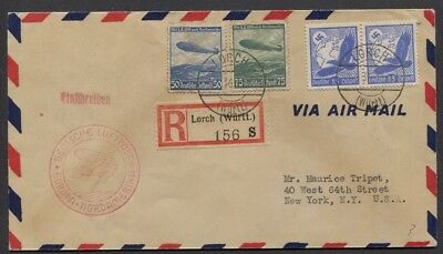 Germany 1936 Registered Zeppelin Flown Cover Lorch - NY Sc C57-C58, C48 Pair