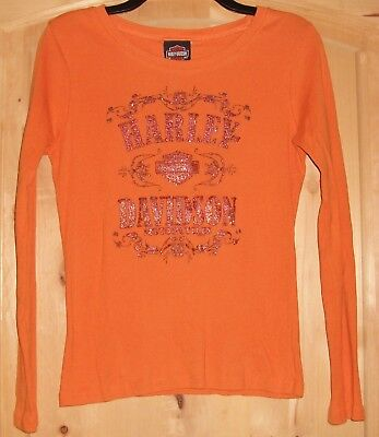 Harley Davidson Women's Long Sleeve Orange T-Shirt Sz Med Troy, NY