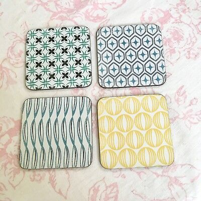 Set of 4 Designer Wooden Coasters ~Hygge ~ Scandinavian style ~ new boxed