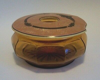 Vintage Cambridge Amber Glass Hair Receiver Celluloid Cover Lid