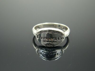 Tiffany & Co 925 Sterling Silver Return to Tiffany & Co Oval Tag Ring Size 6 1/2