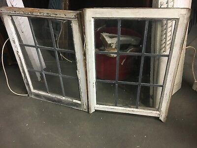 "c1900 leaded glass window set - vintage sash frames 24""w x 32/33"" h x 2"" thick"