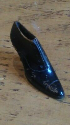Antique treen Ladies Boot, Edwardian Beautifully Carved Tactile Item.