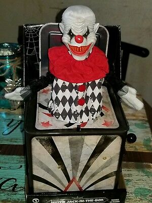 Halloween Jack In The Box Prop.Animated Creepy Jester Clown Jack In The Box Halloween Haunted House Prop Read