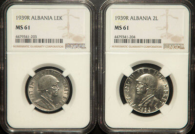 Ngc Ms-61 Albania Lot Of 2 (Two) Coins 1+2 Lek 1939