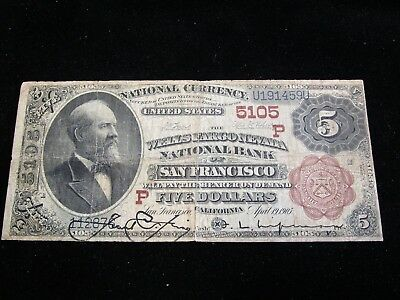 Large Size National Currency Brown Back Wells Fargo Nevada NB San Francisco VG