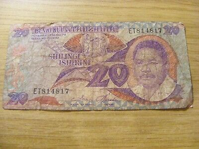 A used Tanzania 20 Shillings Banknote, Used folds and dirty marks