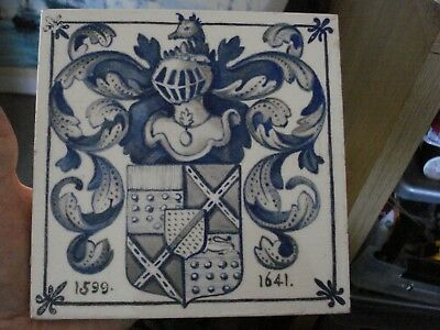 Mintons ARMORIAL English Hand Painted Tile 1914-19