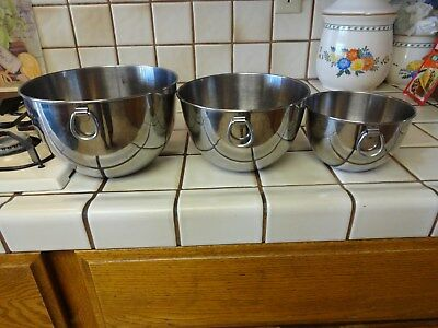 Stainless Steel Revere Ware Nesting Mixing Bowl With Rings Set Of 3 Flat Bottom
