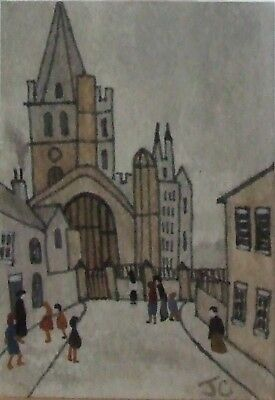 Aceo Original Watercolour by Janet Cook -After L S Lowry