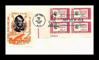 Dr Jim Stamps Us Cover Lincoln American Credo Fdc Plate Block Scott 1143