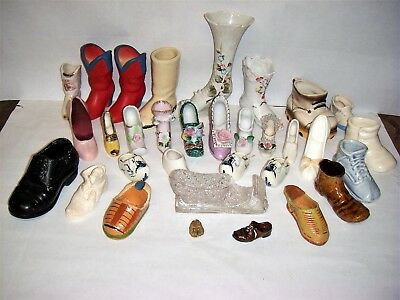 Large Collection (About 32) of Vintage Glass-Porcelain-Pottery Shoes & Boots