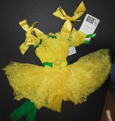 NWT Ballet Costume Girls size 2-3 Bright Yellow Lace skirt BallerinaRibbon trim