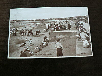 Old 1930 Photo Brown Postcard, The Beach, Saltcoats, North Ayrshire, Donkey Ride