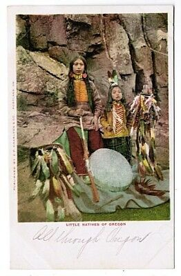 Two Little Native Americans Of Oregon Used Charlton & Co. Udb 1900's Postcard