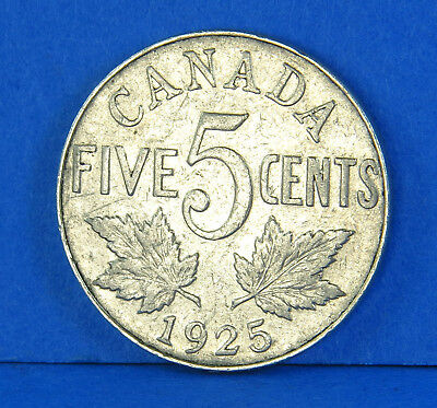 1925 George V 5 Cents Nickel Canadian Coin