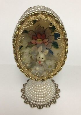 "Vintage Egg Diorama Ornament Bunny Easter Spring Handmade 3.5"" Tall"