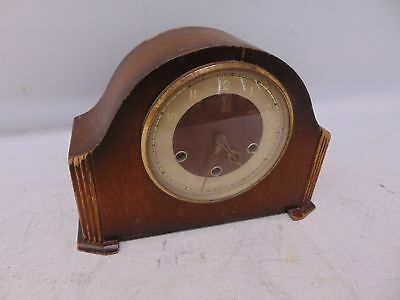 Vintage SMITHS Mantel Clock Wooden Frame Glass Cover Pendulum Chimes - S34