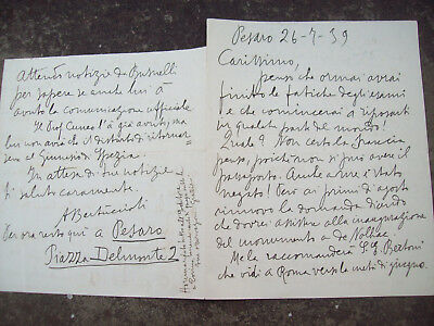 1939 Letter The Autograph Man Of Letters Americo Bajaj From Pesaro