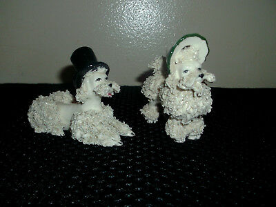 2  Vintage White Spaghetti Poodles with Hats  Boy And Girl