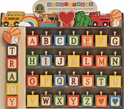 """Wood Theme & A-Z Letter Block Wall Hanging """"spell Your Name"""" Maple Landmark"""