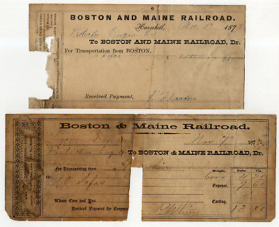 2 Boston And Maine Railroad Freight Receipts From 1873, Haverhill Massachusetts