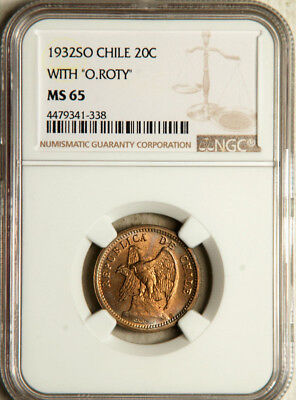 Ngc Ms-65 Chile 20 Centavos 1932 (Undergraded Toned Flawless Gem!)