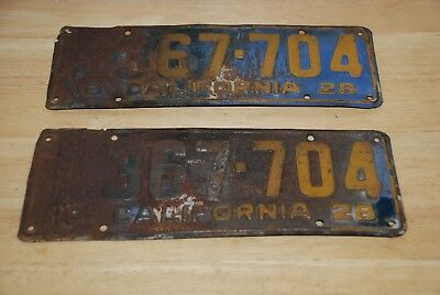 1928 California Matching Commercial License Plates