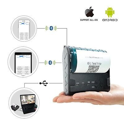 ZKTeco Mini Wireless Bluetooth Printer/Thermal Receipt Printer/Portable Personal
