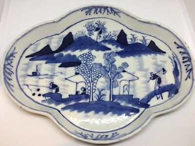 Very Fine Antique 18/19thC Chinese Qing Blue & White Porcelain Tray