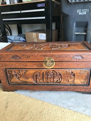 Early 20th Century Hand Carved Chinese trunk, lots of detail, camphor wood.