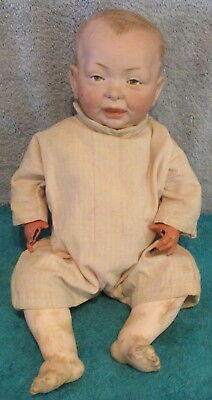 "Antique Kammer/Reinhardt 14"" Character Bisque Head Doll~Repaired Head~Bad Hands"