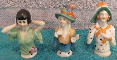 3 Antique China Half Dolls Ready For Pin Cushions~2 German~1 Japan~Beautiful~WOW