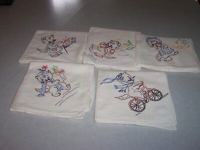 5 Vintage Embroidered Flour Sack Dish Towels, Cats Kittens, Unused