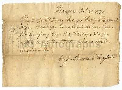 Revolutionary War Document In The Hand of Oliver Ellsworth 1777 Col Dyer Throop