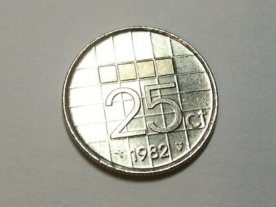 NETHERLANDS 1982 25  cent  coin uncirculated