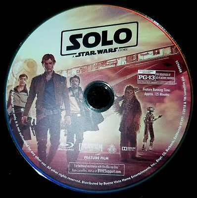 Solo: A Star Wars Story blu-ray - Like New - Disc only