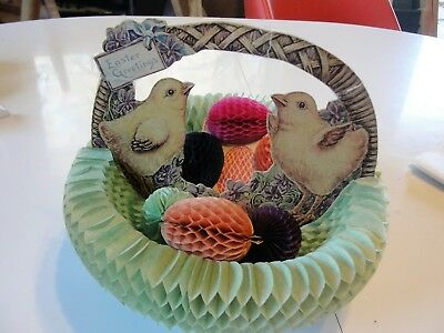 Antique Fold Out Pop Up Paper Easter Basket,chicks,eggs. The Beistle Co Pat 1925