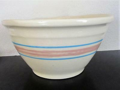 """McCoy Stone Craft Pink and Blue Stripe Mixing Bowl 10"""""""