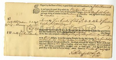 John Hancock - Declaration of Independence Signer Autographed 1773 Shipping Doc