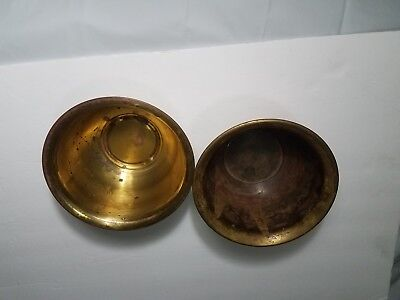 """Lot of 2 small brass decorative bowls 4"""" tall 7"""" wide from korea and hong kong"""