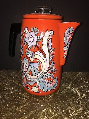 Vintage 60s 70's Orange Enamel COFFEE POT mid century modern Psychedelic