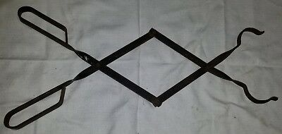 """Old Early Blacksmith Wrought Iron Hearth Fireplace Ember Tongs Logs Coal 27"""""""