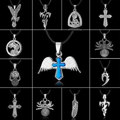 Cross Stainless Steel Pendant Necklace Leather Men Unisex Party Xmas Jewellery