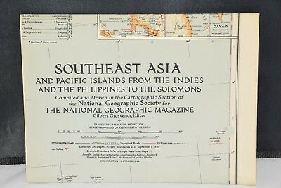 VINTAGE SOUTHEAST ASIA AND PACIFIC ISLANDS MAP National Geographic October 1944